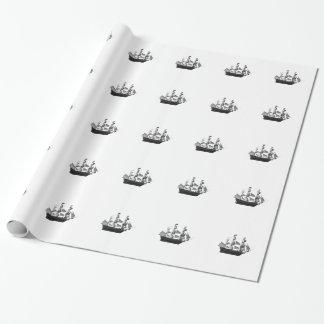 上品で印象的なヴィンテージの古代船 ラッピングペーパー