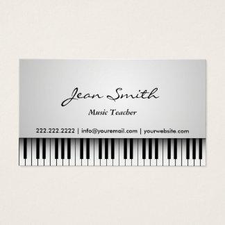 上品で白いピアノ音楽の先生の名刺 名刺