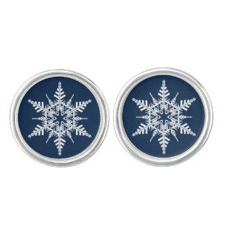 上品で青及び白い雪片のカフスボタン カフスボタン