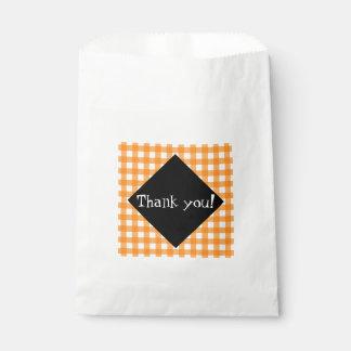 上品なオレンジギンガムおよび黒ダイヤは感謝していしています! フェイバーバッグ