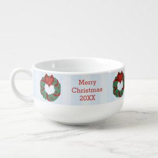 上品なクリスマスのリース スープマグ