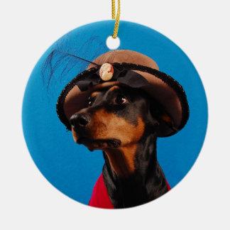 上品なドーベルマン犬 セラミックオーナメント