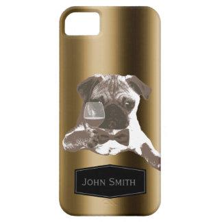 上品なパグ及びワインの名前をカスタムするのiPhone 5の場合 iPhone SE/5/5s ケース