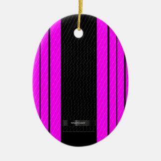 上品なピンクの黒い流れる旗 セラミックオーナメント