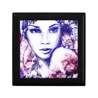 上品な女性の花の水彩画のチョークの絵 ギフトボックス