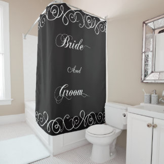 上品な新郎新婦の結婚式 シャワーカーテン