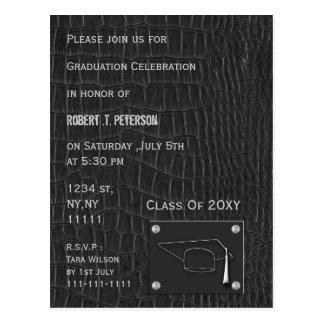 上品な灰色の革卒業のパーティの招待状 ポストカード