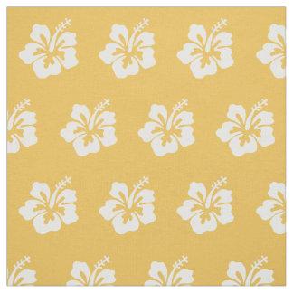 上品な熱帯ハイビスカスの花模様の黄色 ファブリック