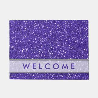 上品な紫色のグリッターの一見の歓迎 ドアマット
