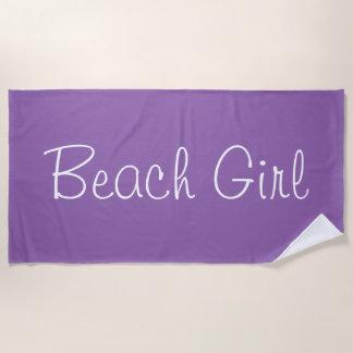 上品な紫色のビーチの女の子のデザイン ビーチタオル