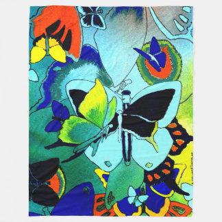 上品な蝶コラージュの春のフリース フリースブランケット