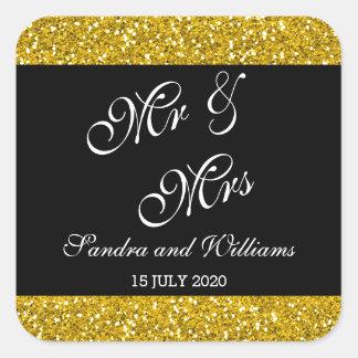 上品な金ゴールドのグリッターおよび黒い氏及び夫人Wedding スクエアシール