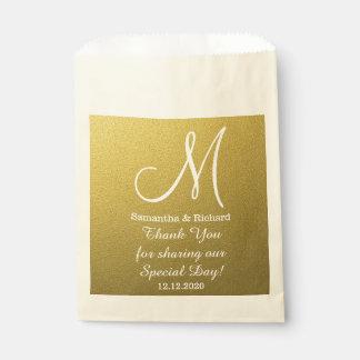 上品な金ゴールドのグリッターの結婚式はモノグラム感謝していしています フェイバーバッグ