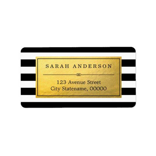 上品な金ゴールドのラベルおよび白黒のストライプ 宛名ラベル