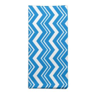 上品な青緑および白のジグザグパターン ナプキンクロス
