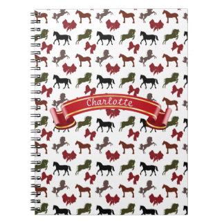 上品な馬および弓パターンカスタム ノートブック
