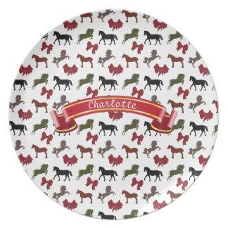 上品な馬および弓パターンカスタム プレート