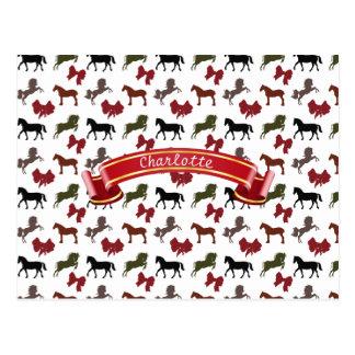 上品な馬および弓パターンカスタム ポストカード