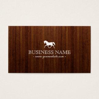 上品な馬の暗い木の質の名刺 名刺