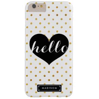 上品のこんにちはカスタムな黒いハート の金ゴールドの点 BARELY THERE iPhone 6 PLUS ケース