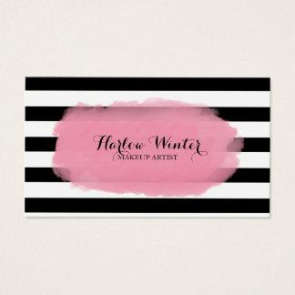 上品のストライプのピンクの白黒のメーキャップアーティスト 名刺