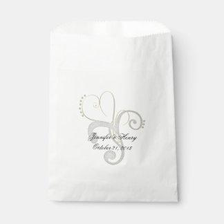 上品の抽象的なハートのカスタムな結婚式の引き出物のバッグ フェイバーバッグ