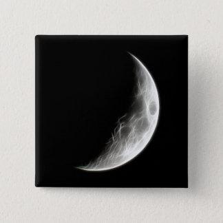 上弦の月の月の惑星の地球 5.1CM 正方形バッジ