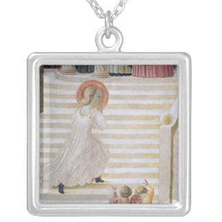 上昇している聖母マリア階段 シルバープレートネックレス