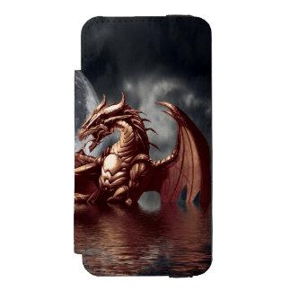 上昇の海のドラゴン及び月のファンタジーの芸術 INCIPIO WATSON™ iPhone 5 財布 ケース
