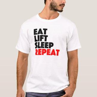 上昇の睡眠の繰り返しを食べて下さい Tシャツ