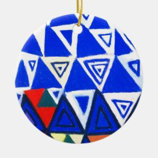 上昇の青い三角形(幾何学的な表現主義) セラミックオーナメント