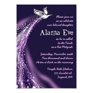 上昇の鳩のこうもりのバーの(ユダヤ教の)バル・ミツバーの招待状の紫色 12.7 X 17.8 インビテーションカード