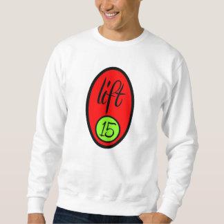 上昇15の-長い袖-卵白-背部文字 スウェットシャツ
