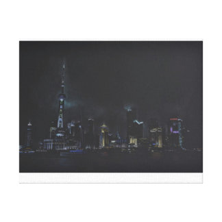 上海のスケッチ、中国のなスカイライン キャンバスプリント