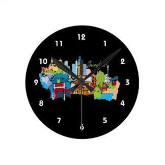 上海の都市watercolored黙した色design.png ラウンド壁時計