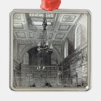 上院の図書館 シルバーカラー正方形オーナメント