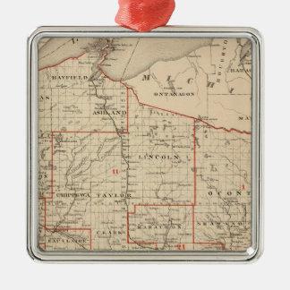 上院議員の地区を示すウィスコンシンの地図 メタルオーナメント