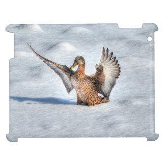 上陸の女性のマガモのアヒルの野性生物の写真 iPadケース
