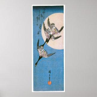下方に飛んでいる3羽の野生のガチョウ ポスター