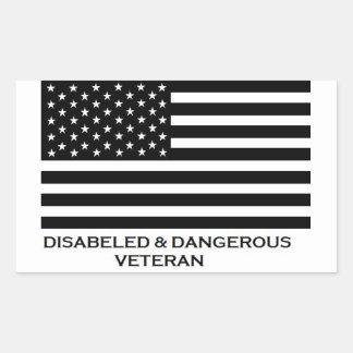 不具及び危ない退役軍人 長方形シール