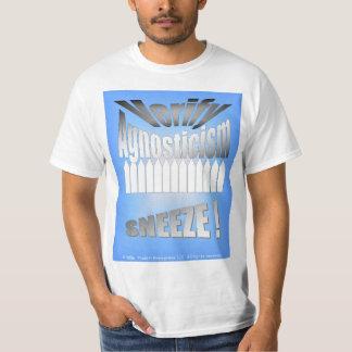 """""""不可知論""""のくしゃみ確認して下さい Tシャツ"""