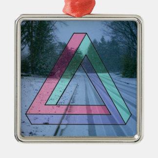 不可能な三角形のオーナメント シルバーカラー正方形オーナメント