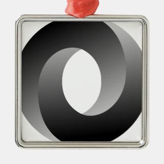 不可能な円の目の錯覚 シルバーカラー正方形オーナメント