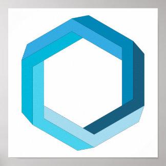 不可能な幾何学: 青い六角形 ポスター