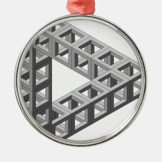 不可能な目の錯覚の三角形 シルバーカラー丸型オーナメント