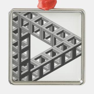 不可能な目の錯覚の三角形 シルバーカラー正方形オーナメント