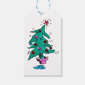 不安定なクリスマスツリーのギフトのラベル ギフトタグ