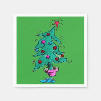 不安定なクリスマスツリーのナプキン スタンダードカクテルナプキン