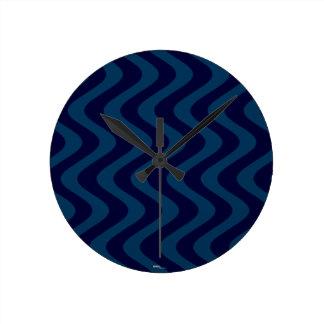 不安定な波(青か青) ラウンド壁時計