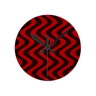 不安定な波(黒か赤) ラウンド壁時計